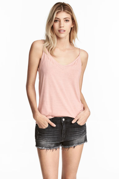 V-neck strappy top - Powder pink - Ladies | H&M 1