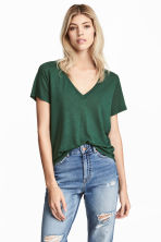 T-shirt in a linen blend - Dark green -  | H&M CN 1