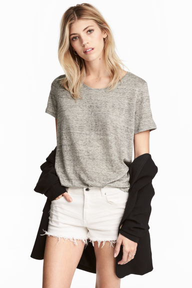 Linen round-neck top - Grey marl - Ladies | H&M