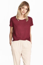 Linen round-neck top - Burgundy - Ladies | H&M 1