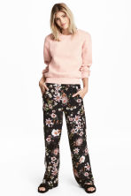 Wide trousers - Black/Floral - Ladies | H&M 1