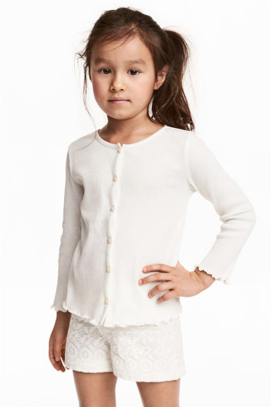 Ribbed jersey cardigan - White - Kids | H&M CA