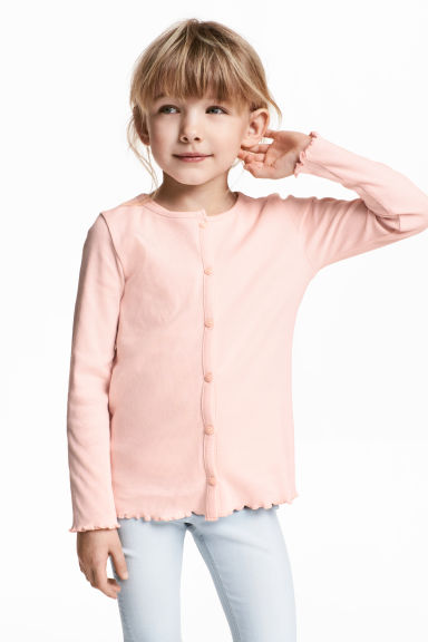 Ribbed jersey cardigan - Powder pink - Kids | H&M 1