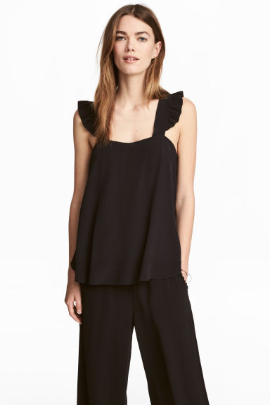 Top in tessuto increspato - Nero -  | H&M IT 1
