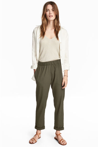 Pull-on trousers - Khaki green - Ladies | H&M 1