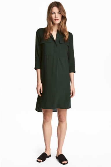 Short dress - Dark green - Ladies | H&M 1