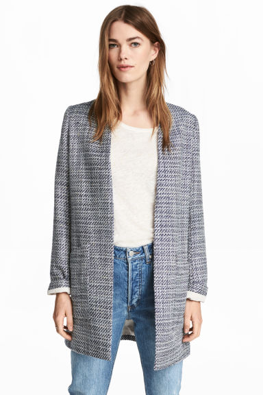 Textured coat - Dark blue/White - Ladies | H&M