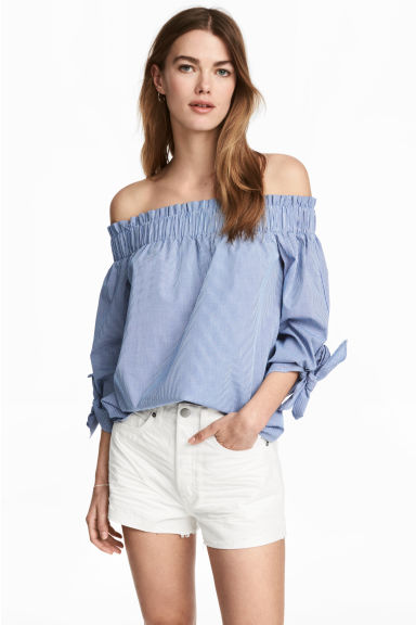 Off-the-shoulder top - Blue/Checked - Ladies | H&M GB