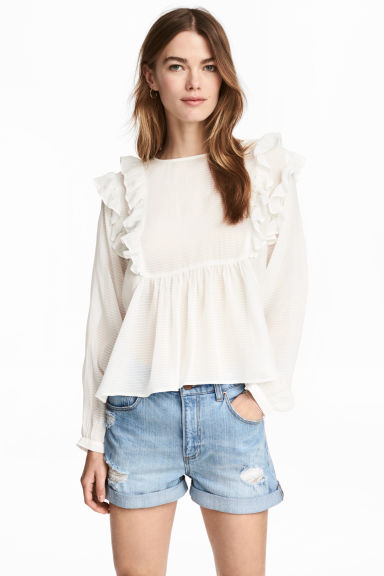 Frilled blouse - White/Striped - Ladies | H&M