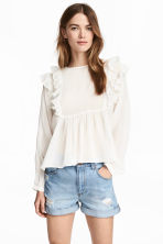 Frilled blouse - White/Striped - Ladies | H&M CN 1