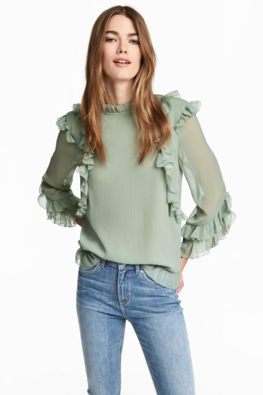 Double-layered chiffon blouse - Dusky green - Ladies | H&M CN 1