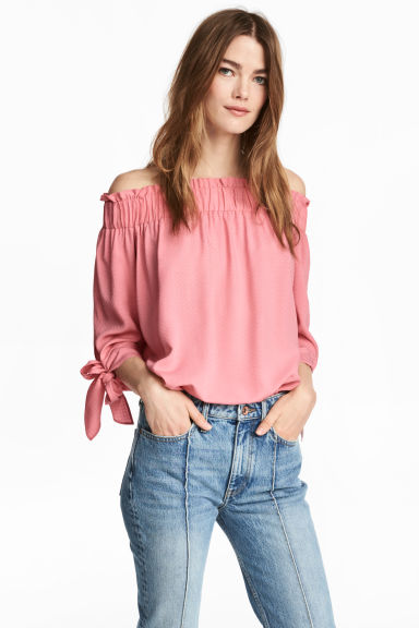 Off-the-shoulder top - Pink/Patterned - Ladies | H&M CA 1