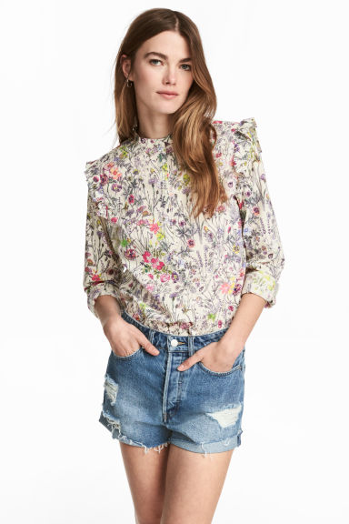 Cotton blouse - Natural white/Floral - Ladies | H&M 1