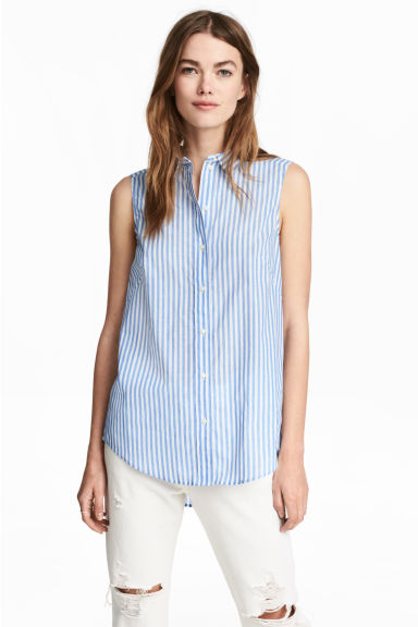 Sleeveless blouse - Blue/White/Striped - Ladies | H&M 1