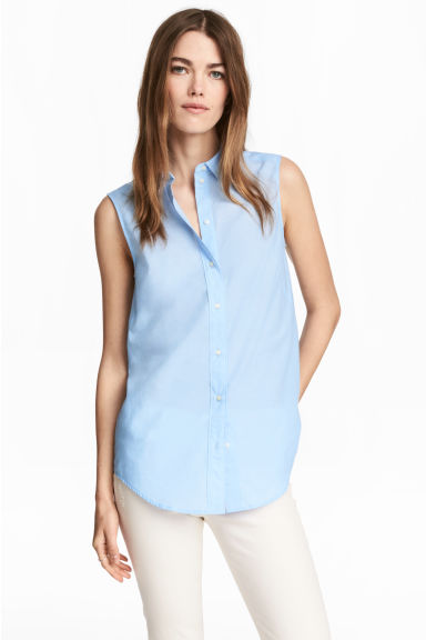 Sleeveless blouse - Light blue - Ladies | H&M CA