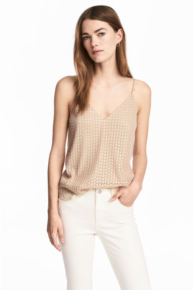 Mesh top - Light beige - Ladies | H&M 1