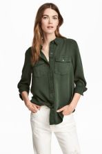 Lyocell utility shirt - Dark green - Ladies | H&M 1