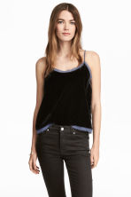Top in velluto - Blu scuro - DONNA | H&M IT 1