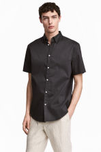 Short-sleeved shirt Slim fit - Anthracite grey - Men | H&M CN 1