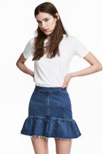 Denim skirt with a flounce - Denim blue - Ladies | H&M CN 1