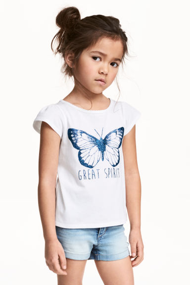 Printed jersey top - White/Butterfly -  | H&M CN 1