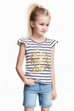 Printed jersey top - White/Dark blue/Striped - Kids | H&M 1