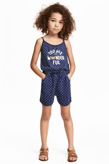 Jersey playsuit - Dark blue/Heart - Kids | H&M CN