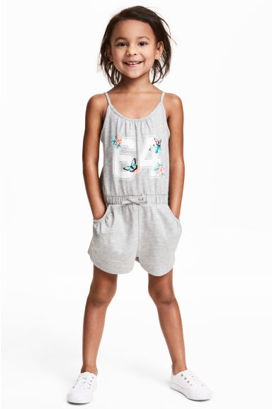 Jersey playsuit - Grey marl - Kids | H&M 1