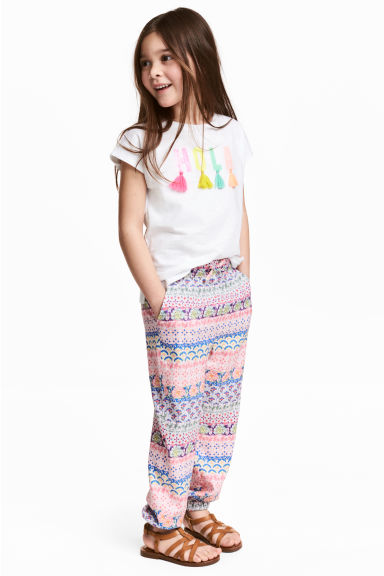Patterned pull-on trousers - Pink/Blue - Kids | H&M 1