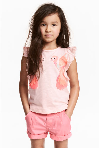 Top avec applications - Rose clair/perroquets - ENFANT | H&M FR 1