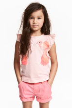 Top with appliqués - Light pink/Parrots -  | H&M 1