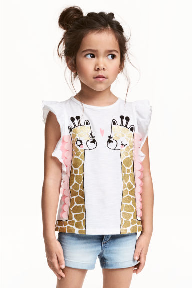 Top with appliqués - White/Giraffe -  | H&M