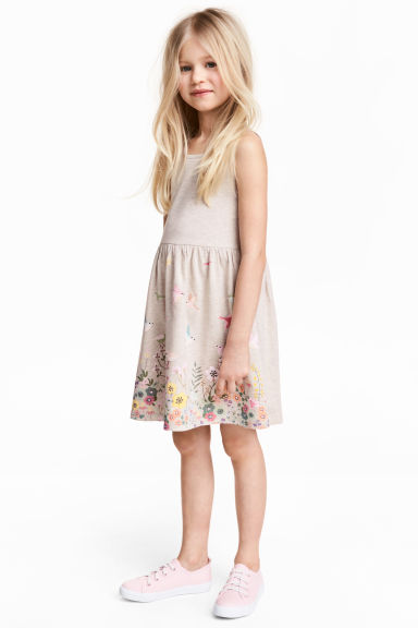 Patterned jersey dress - Light beige marl - Kids | H&M 1