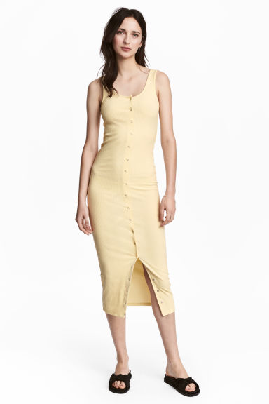 Ribbed jersey dress - Light yellow - Ladies | H&M CN 1