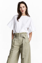 Top with flounced sleeves - White -  | H&M CA 1