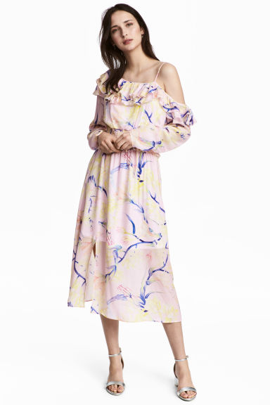 斜肩洋裝 - Light pink/Floral - Ladies | H&M