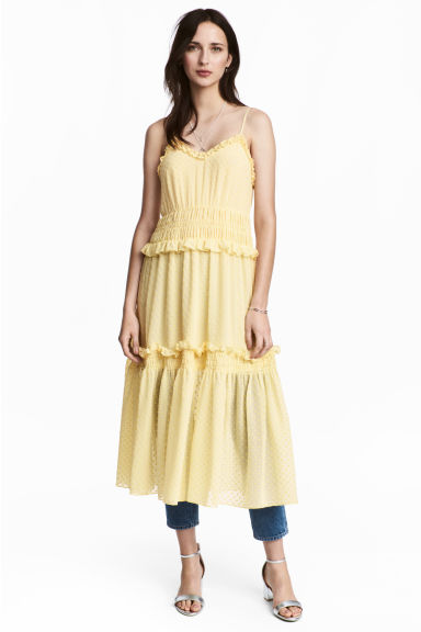 Knee-length dress - Light yellow/Spotted -  | H&M IE