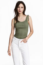 Ribbed top - Khaki green - Ladies | H&M 1