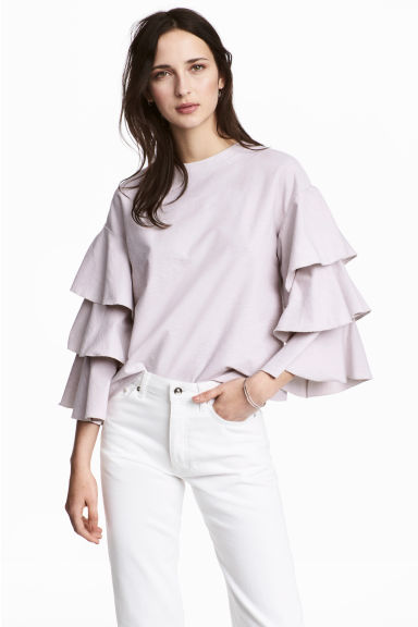 Top with tiered sleeves - Light purple - Ladies | H&M CN 1