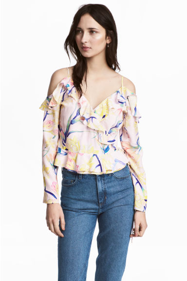 露肩女衫 - Light pink/Floral - Ladies | H&M 1