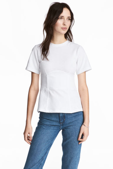 Short-sleeved top - White -  | H&M