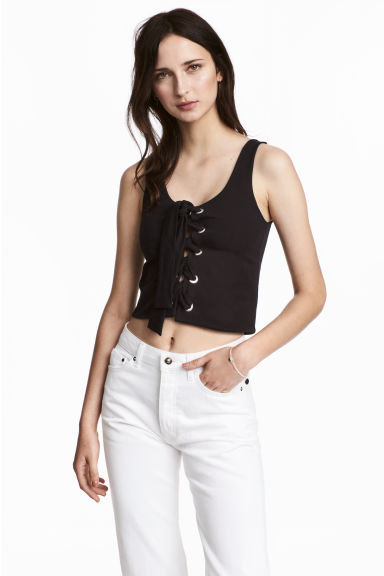 Laced top - Black -  | H&M