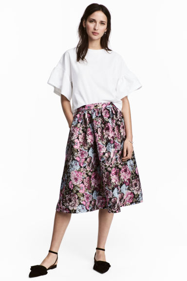 Jacquard-weave skirt - Black/Floral - Ladies | H&M CN