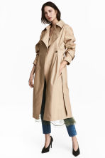 Cotton twill trenchcoat - Beige - Ladies | H&M CN 1