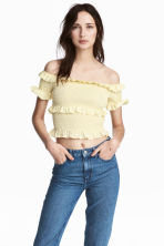 Off-the-shoulder blouse - Light yellow - Ladies | H&M CA 1