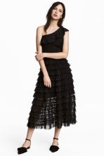 Tiered mesh skirt - Black - Ladies | H&M 1