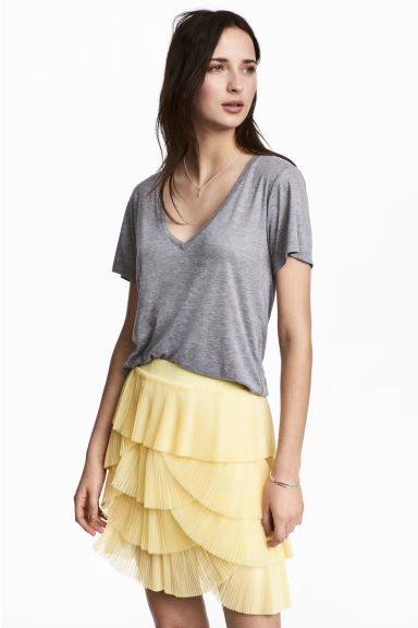Pleated tulle skirt - Light yellow -  | H&M GB