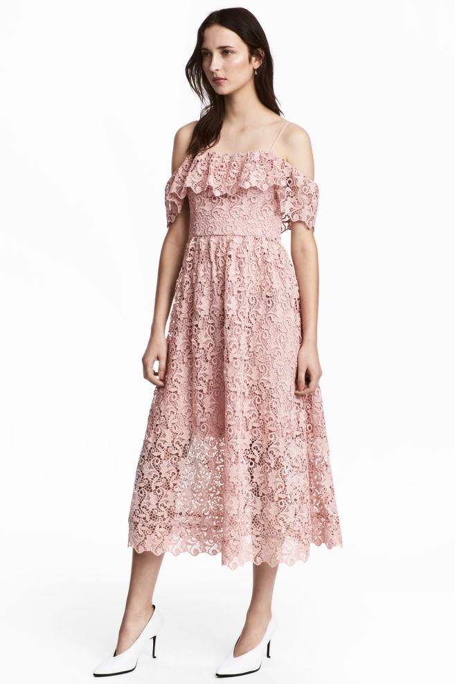 Off-the-shoulder lace dress - Light pink - Ladies | H&M GB