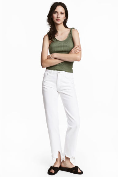 Straight Regular Jeans - 白色牛仔布 - 女士 | H&M CN 1