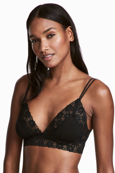 Non-wired lace bralette - Black - Ladies | H&M 1